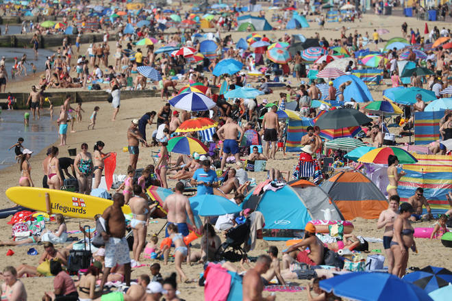 Hundreds of sun worshippers returned to Bournemouth this morning