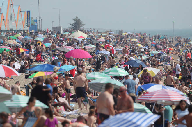 Southend beach in Essex was busy on Saturday as temperatures soared