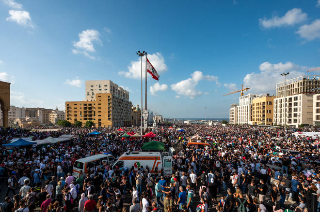 Thousands of Lebanese people demonstrated against their government on Saturday