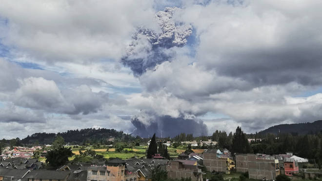 The Mount Sinabung volcano in Indonesia has erupted.