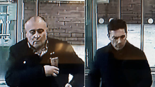 The men the police are looking for over the theft of a pensioner's purse