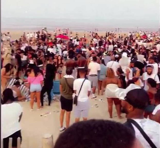 Hundreds attended a beach cookout event on Sunday