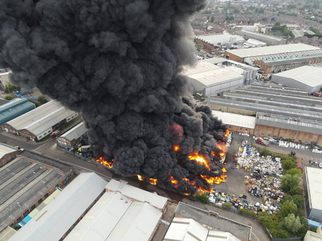 "More than 100 firefighters are tackling a ""severe fire"" at a plastics factory in Birmingham"