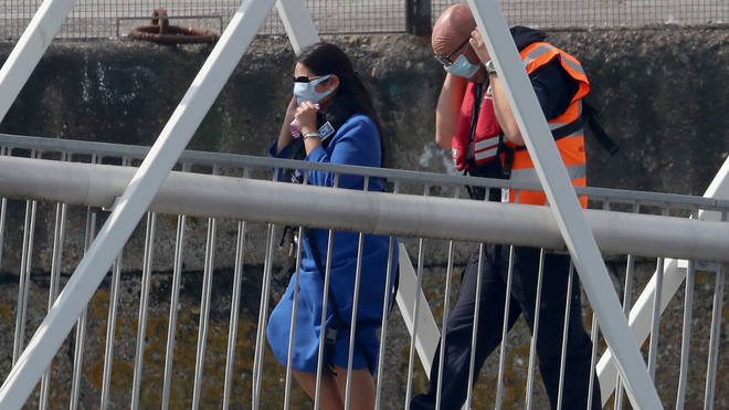 Home Secretary Priti Patel visited a border force station on Monday