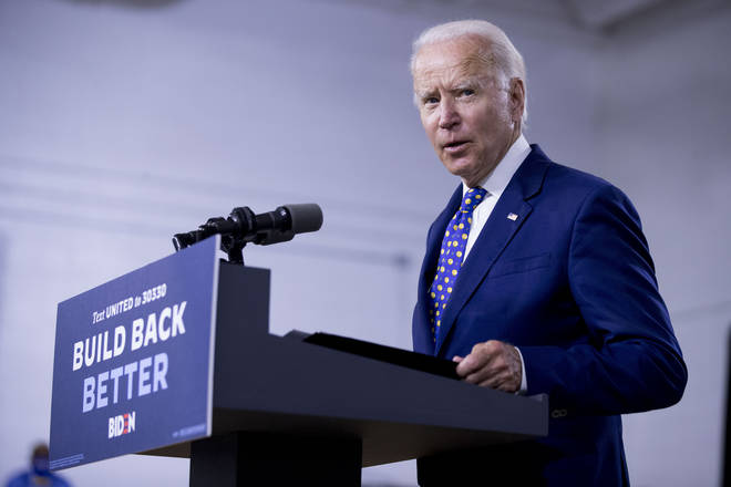 Democratic presidential candidate former Vice President Joe Biden speaks at a campaign event