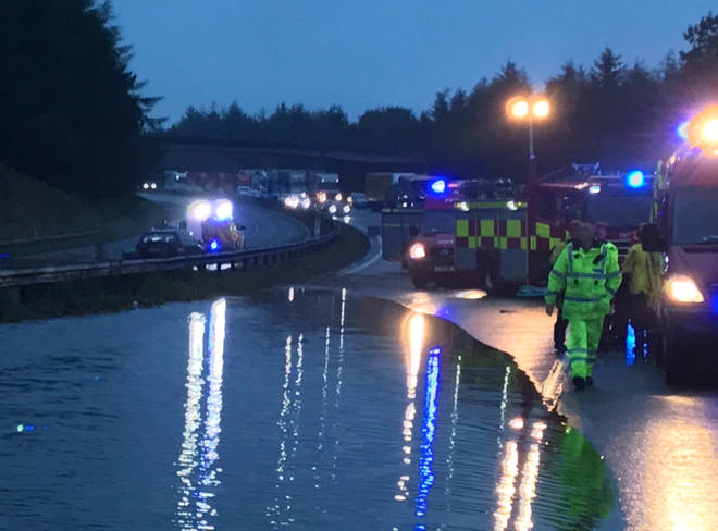 Roads have been closed following the flooding