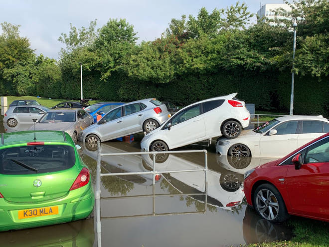 Flooding in a car park in Fife