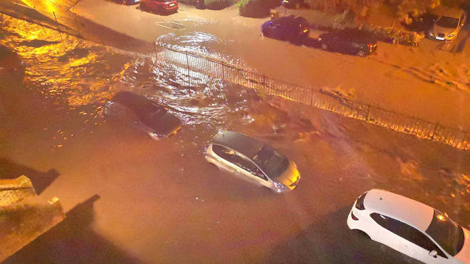 Submerged cars in Fife after a night of downpours