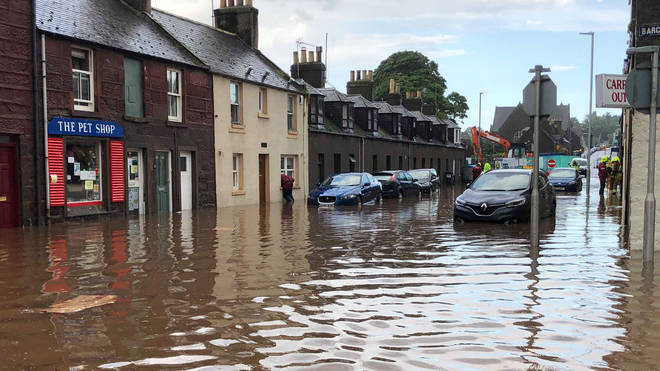 Flooding in Stonehaven, Aberdeenshire in Scotland, where a nearby train derailed