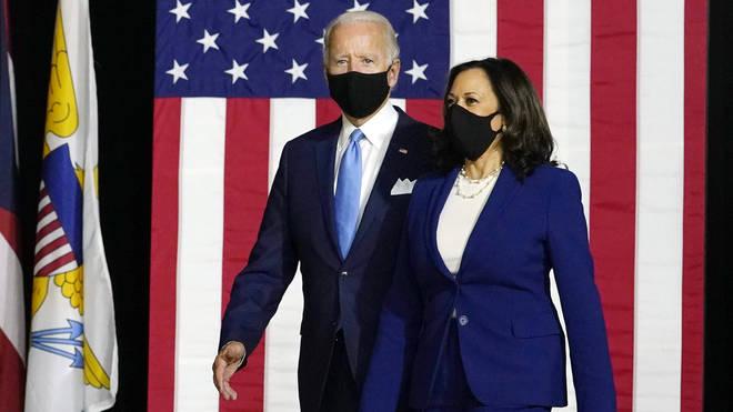 Democratic presidential candidate Joe Biden and his newly-chosen running mate Kamala Harris