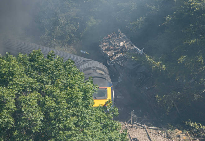 The ScotRail train came off the tracks on Wednesday morning