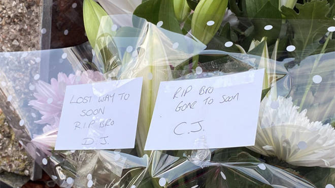 Tributes left to Cole Kershaw at the scene in Bury, Greater Manchester