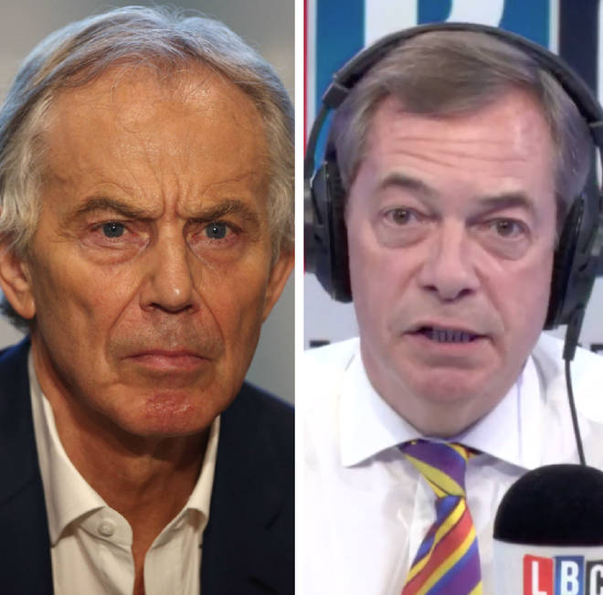 Nigel Farage attacked Tony Blair's quest for a second referendum
