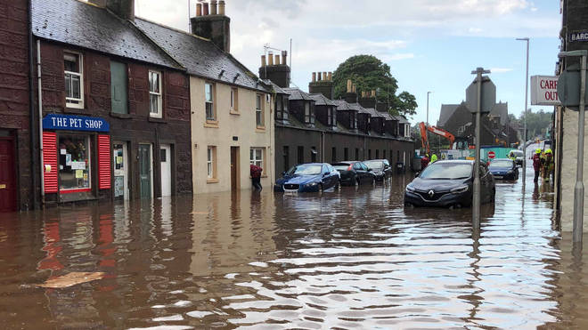 Flooding in Stonehaven, Aberdeenshire in Scotland, on Wednesday