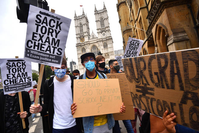 A-level students have marched on Downing Street