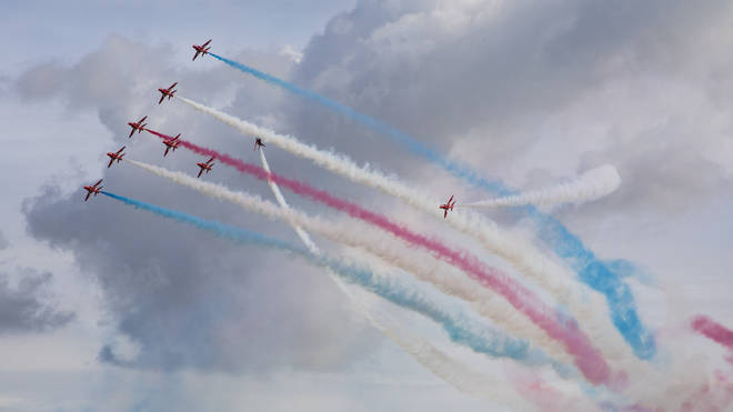 The Red Arrows perform their display at RAF Scampton in Lincolnshire