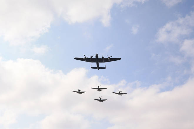 The Battle of Britain Memorial Flight crossed the VJ Day remembrance service in Staffordshire