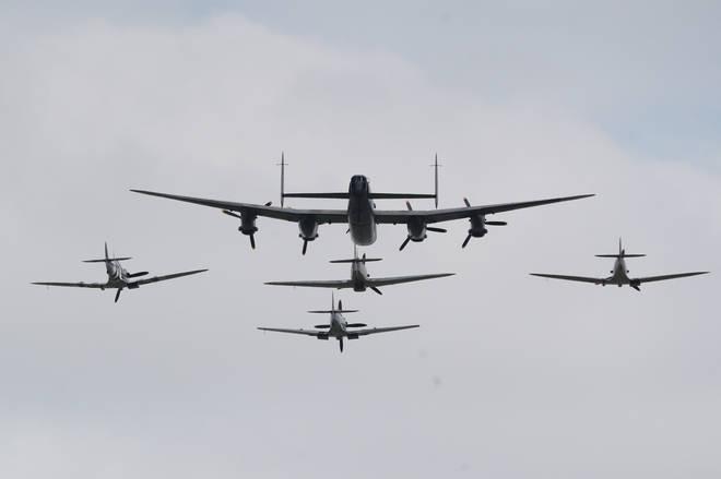 The Battle of Britain Memorial Flight saluted veterans this morning