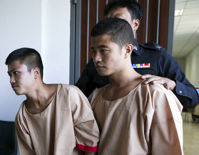Myanmar migrants Win Zaw Htun, right, and Zaw Lin, left, in court in 2015