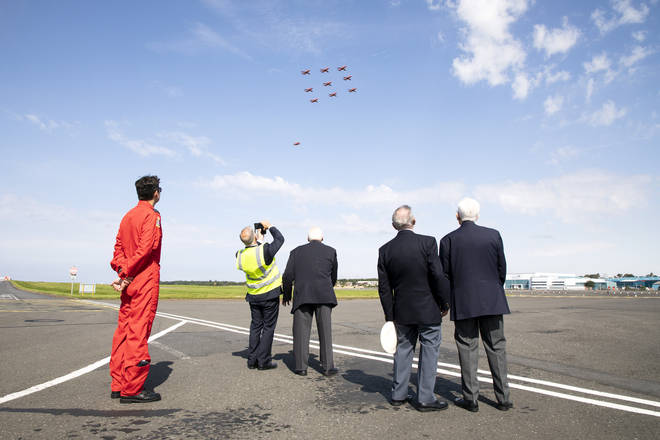 Veterans watched on as the Red Arrows performed on VJ Day at 75