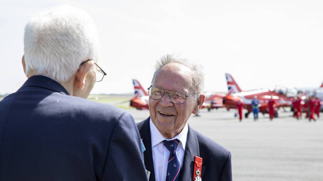 The Red Arrows, carried out a flypast over Glasgow Prestwick Airport to mark VJ Day