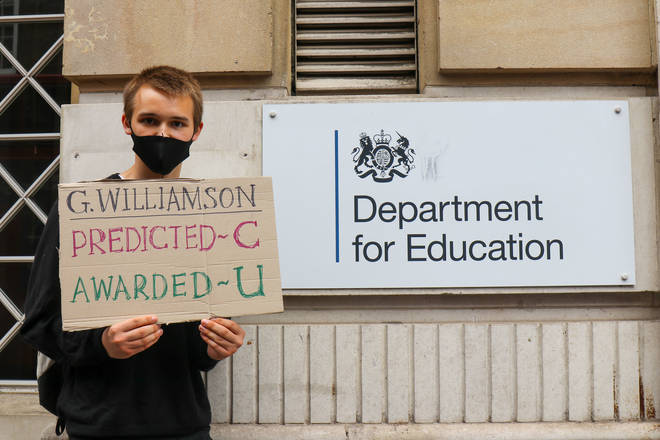 Students protested outside Downing Street over the results fiasco