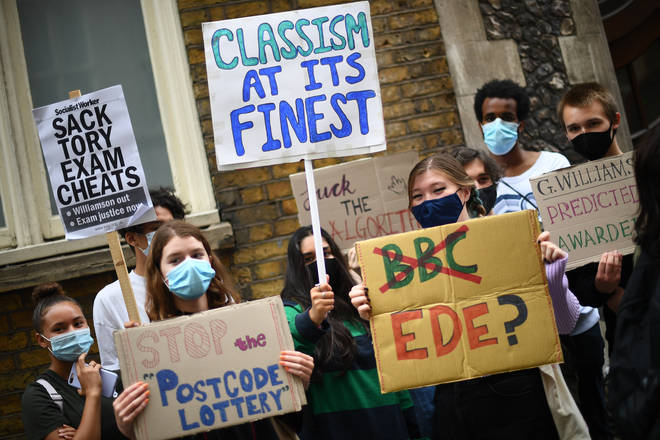 A-level students have protested against their results