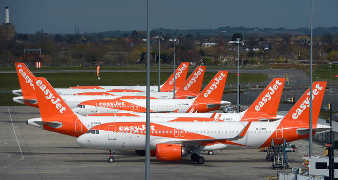 Easyjet aircraft parked at Southend airport