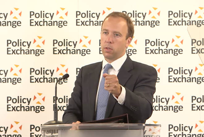 The Health Secretary was speaking at a Policy Exchange event