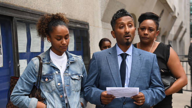 Tashan Daniel's family speaking to the media outside the Old Bailey earlier this month