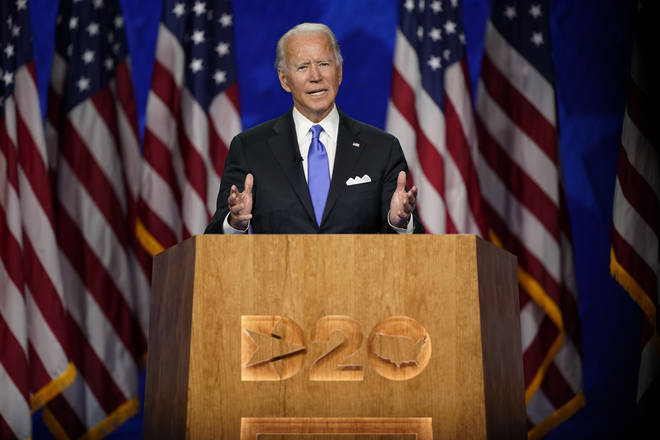 Democratic presidential candidate former Vice President Joe Biden speaks during the fourth day of the Democratic National Convention