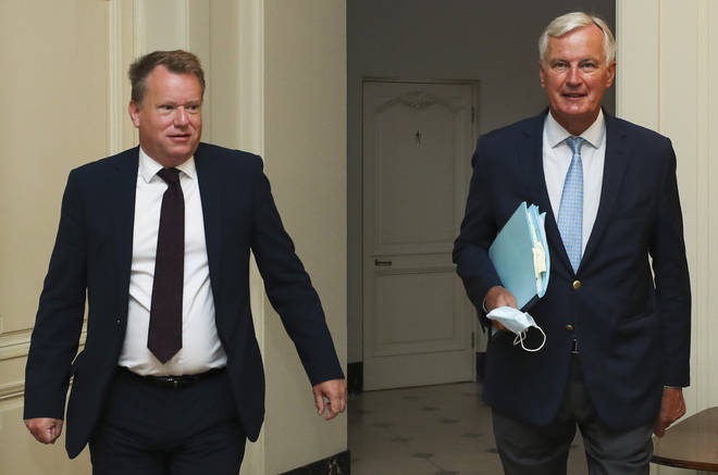 Brexit negotiators David Frost (left) and Michel Barnier are yet to reach an agreement