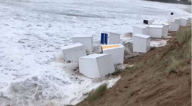 The beach huts have been washed away into the sea