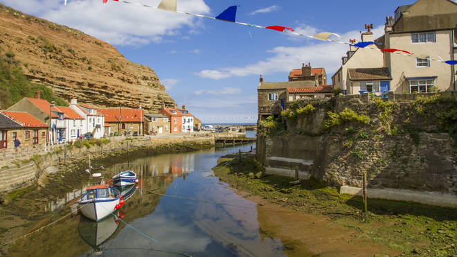 The young toddler got into trouble at the harbour in Staithes, North Yorkshire
