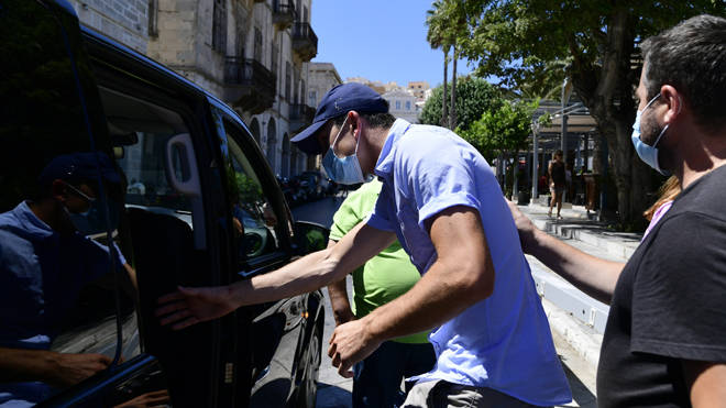Harry Maguire leaves court on the island of Mykonos