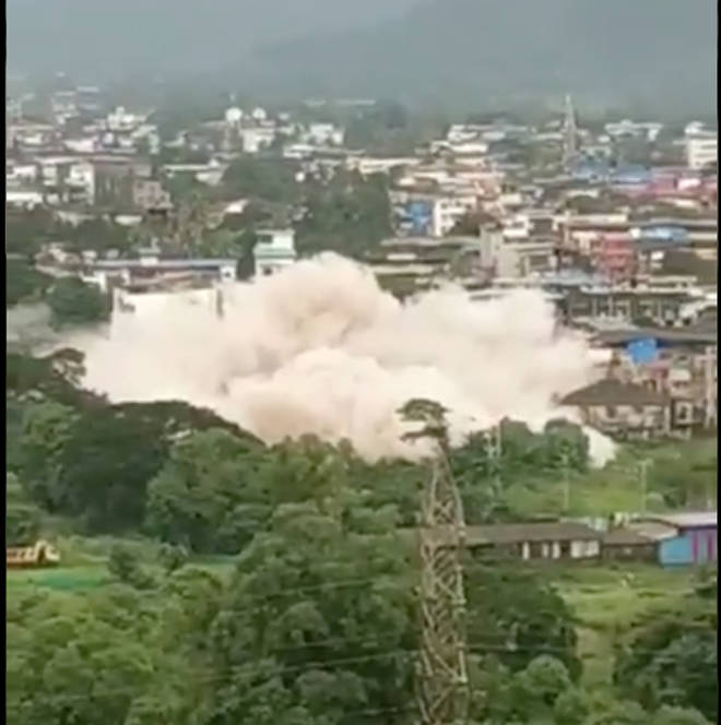 The building collapsed on Monday evening