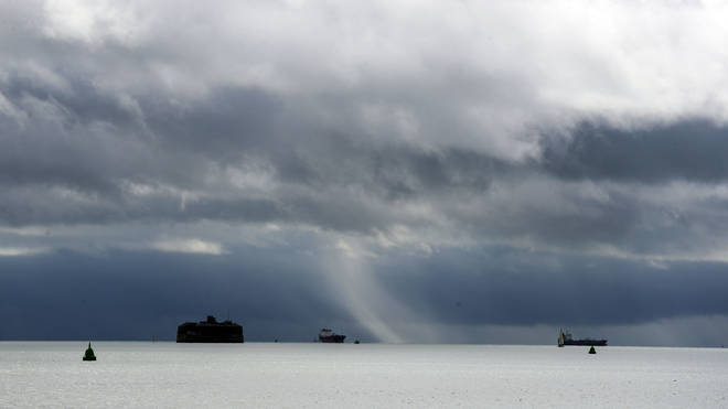 """Clouds form over the Solent in Portsmouth. The UK has been braced to expect an """"unseasonably wet and windy spell"""", as Storm Francis reaches the west of England from the early hours of Tuesday"""
