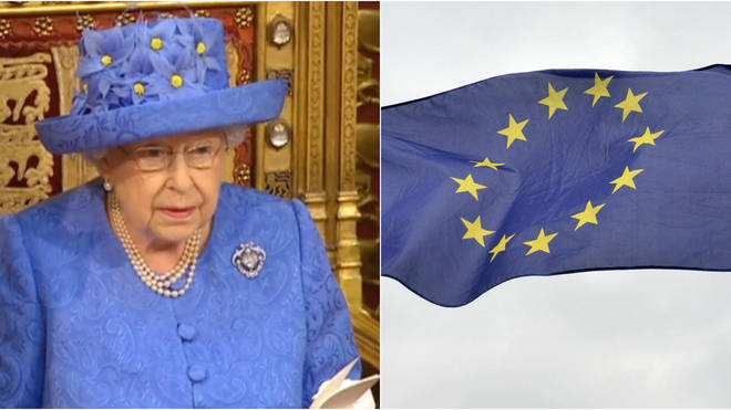 Was the Queen wearing the EU flag hat?