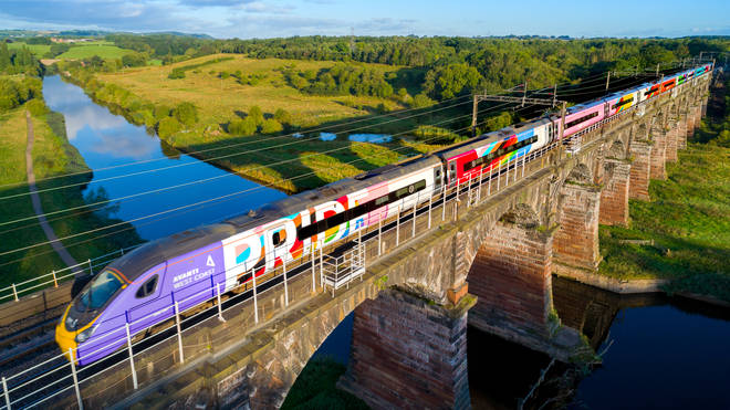 The train features the biggest Pride flag reportedly seen in the UK