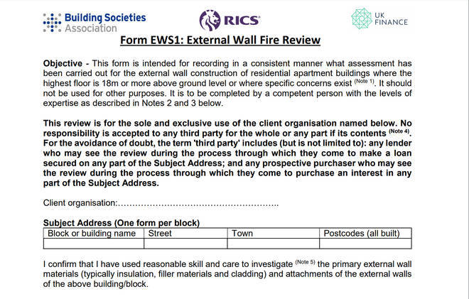 The form used by RICS
