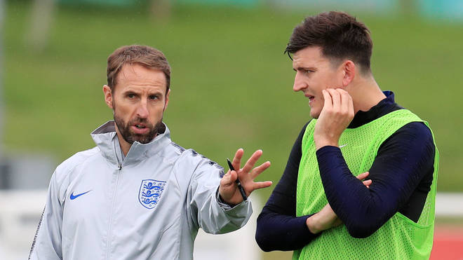 Harry Maguire (R) has been selected for England's Nations League squad next month despite the trial