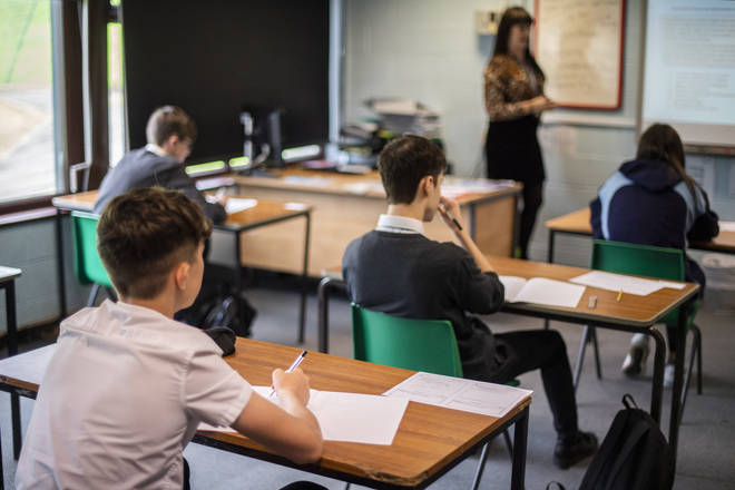 Pupils practice social distancing at Longdendale High School in July