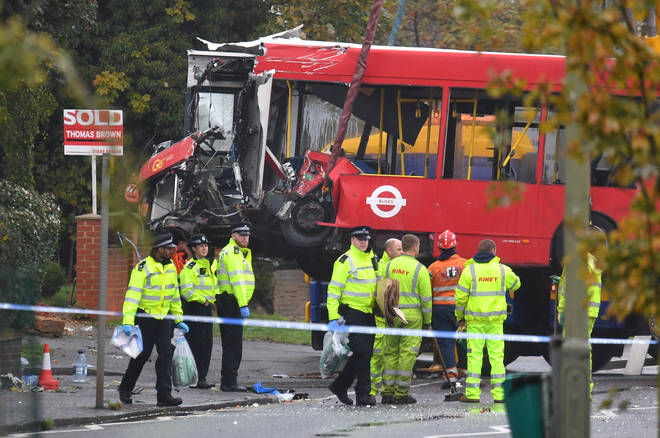 Emergency services at the scene of the crash on Halloween last year