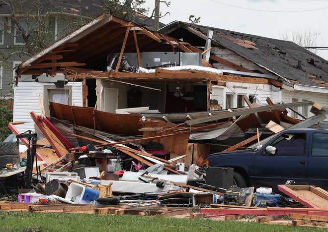 Damaged house in Lake Charles, Louisiana