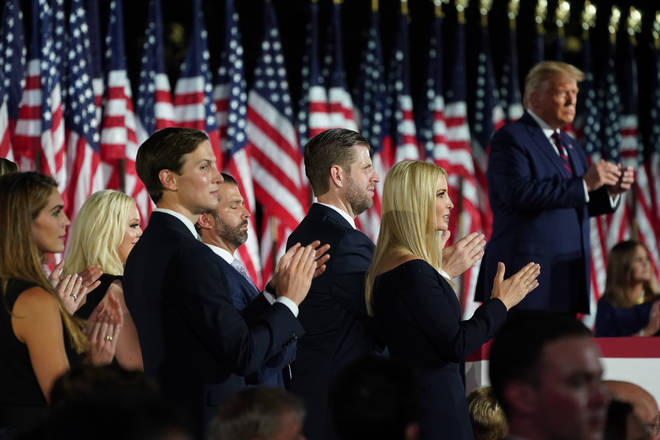 Children of Donald trump applaud the president. U.S. President Donald Trump formally accepts the 2020 Republican presidential nomination during his Republican National Convention address