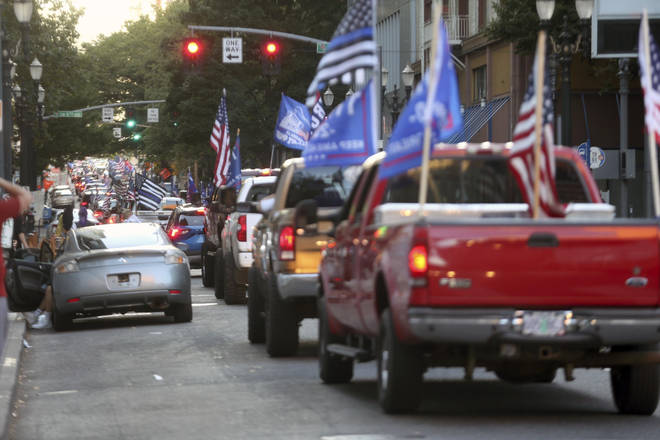 Fights broke out after hundreds of Donald Trump supporters drove into downtown Portland, Oregon