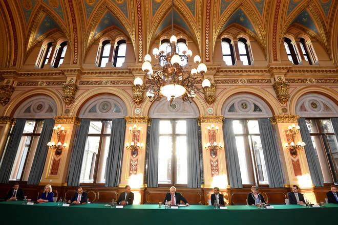 Boris Johnson chairing the cabinet meeting