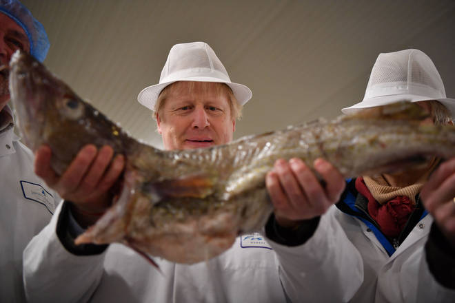 Boris Johnson holding a cod during an election campaign visit to Grimsby Fish Market last December
