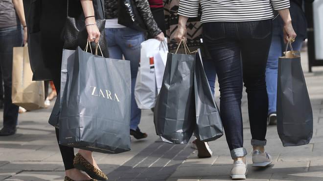Footfall across all shopping destinations was up six per cent last week