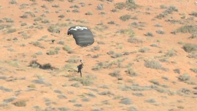 David Blaine touches down safely on the Arizona desert below